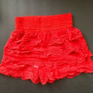 Pants - Red Lace Shorts